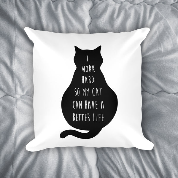 I Work For My Cat Throw Pillow