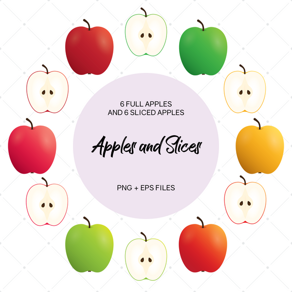 Apples and Slices Clip Art