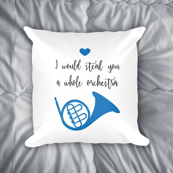 Blue French Horn Throw Pillow