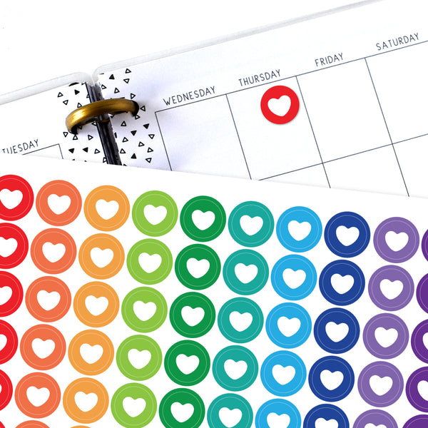 Heart Circle Planner Stickers