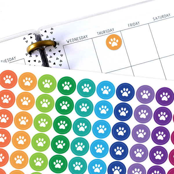 Paw Print Circle Planner Stickers