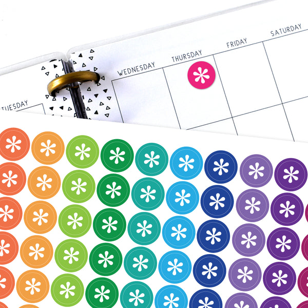 Asterisk Circle Planner Stickers