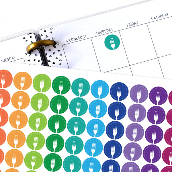 Fork Circle Planner Stickers