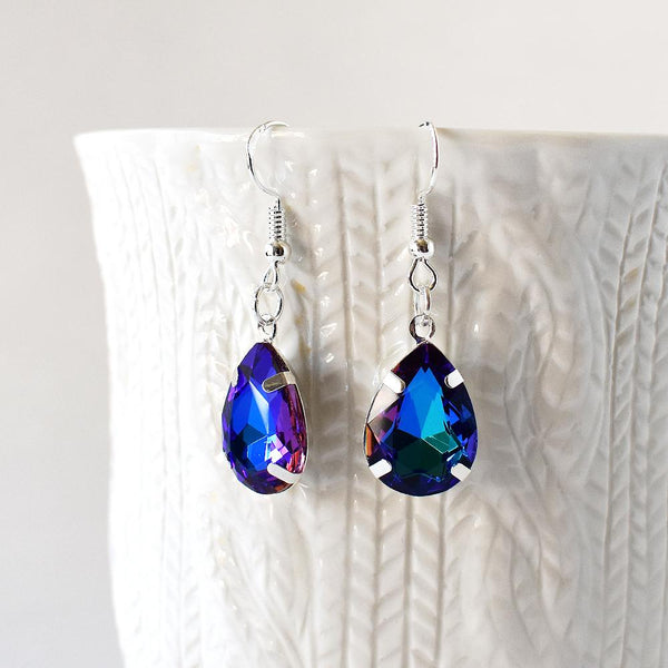 Earrings - Blue And Purple Crystal Teardrop Earrings