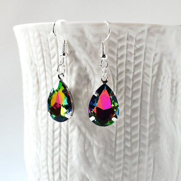 Earrings - Green And Pink Crystal Teardrop Earrings