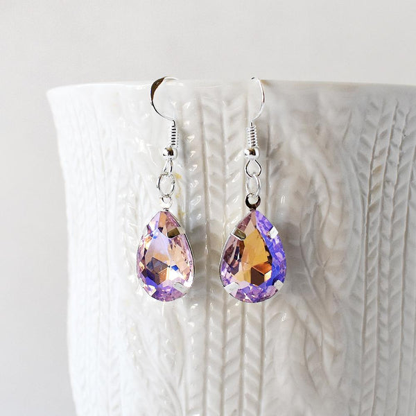 Earrings - Lavender And Gold Crystal Teardrop Earrings
