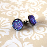 Earrings - Purple Druzy Earrings