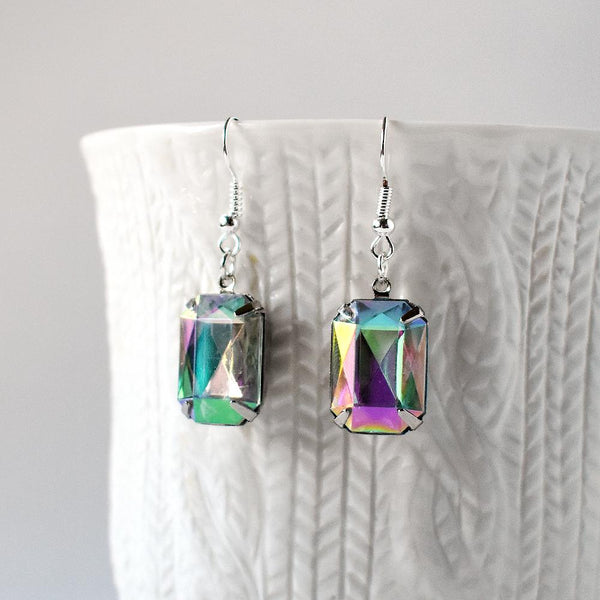 Earrings - Rainbow Crystal Rectangle Earrings