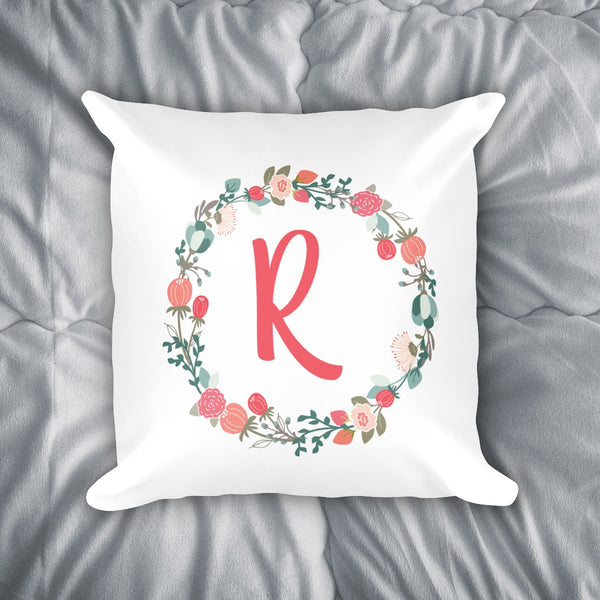 Floral Monogram Throw Pillow