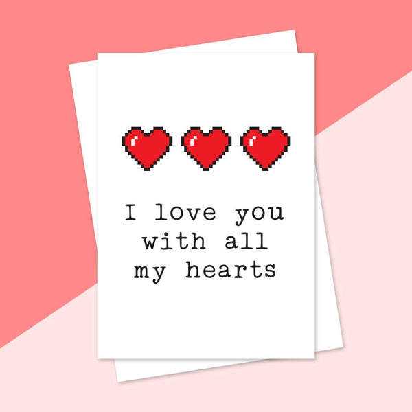 Greeting Cards - I Love You With All My Hearts Greeting Card