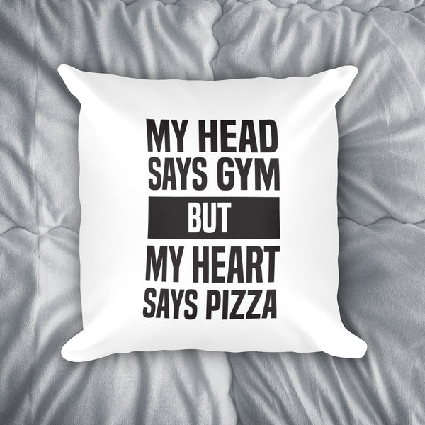 My Heart Says Pizza Throw Pillow