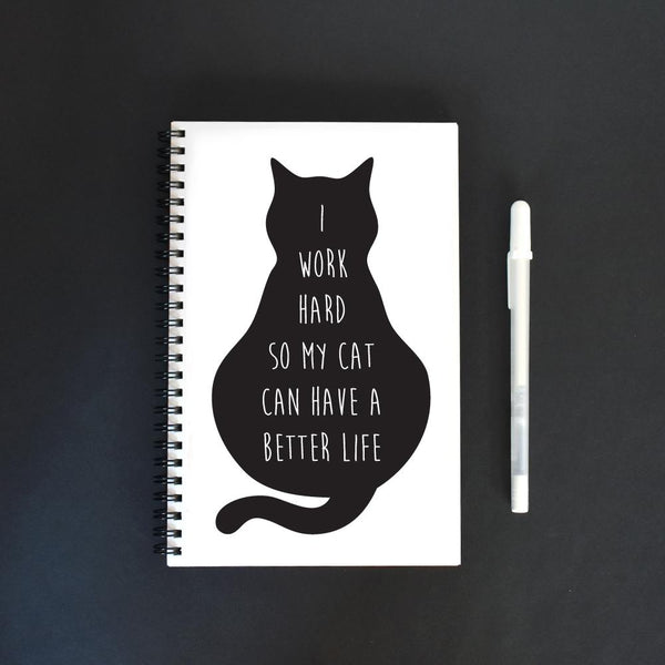 I Work For My Cat Notebook