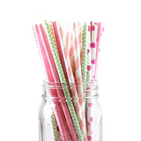 Paper Straws - Pink And Mint Paper Straws
