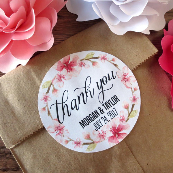 Stickers - Pink Floral Thank You Stickers