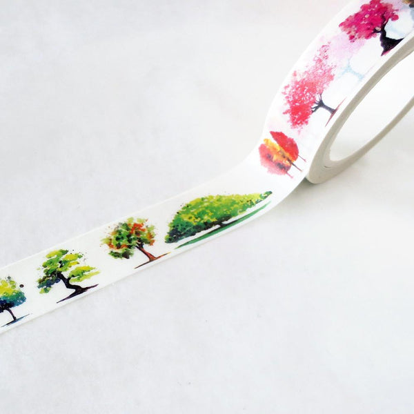Washi Tape - Pink And Green Trees Washi Tape
