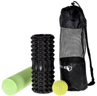 Foam Rollers for Muscles - 2 in 1 High Density Foam Roller Massager for The Deep Tissue Myofascial Release Trigger Point Foam Rollers for Post Workout Pain. BONUS Spiky Massage Ball and Carrying Bag.