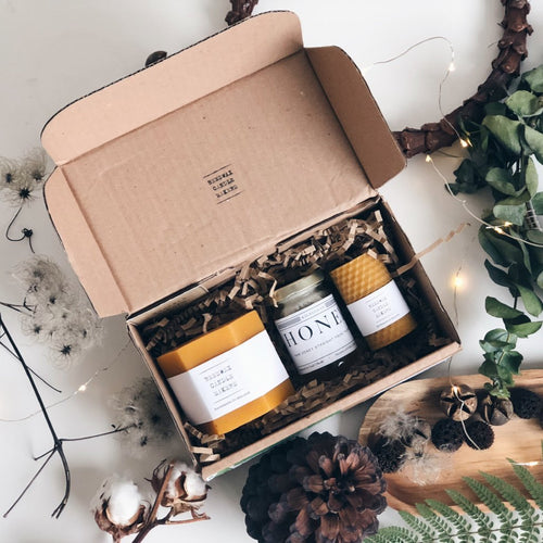 Beeswax Candle & Honey Gift Set