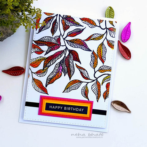 Colored Leaves Birthday Card