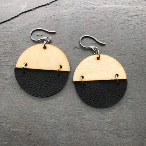 100% Leather with wood earrings