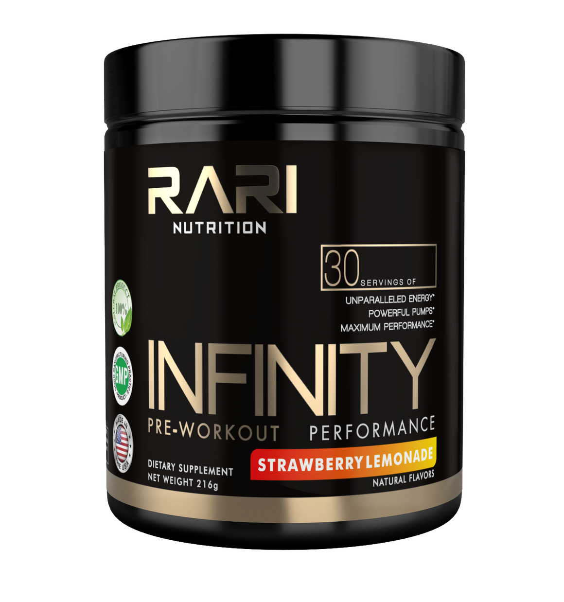 RARI Nutrition - INFINITY 100% Natural Pre Workout Powder for Energy, Focus, and Performance - No Creatine - No Artificial Flavors or Colors - 30 Servings
