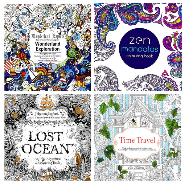 Coloring Books 4 Books Wonderland Exploration, ZEN Mandalas, Lost Ocean and Time Travel Coloring Book for Adult Kids or kids 18.5*18.5cm
