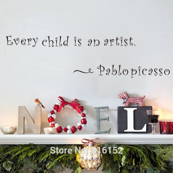 Wall Art Every Child Is An Artist  Inspirational Quote Wall Decals Quote Decals Wall Stickers Quotes Lyrics Famous Quotes  Nursery