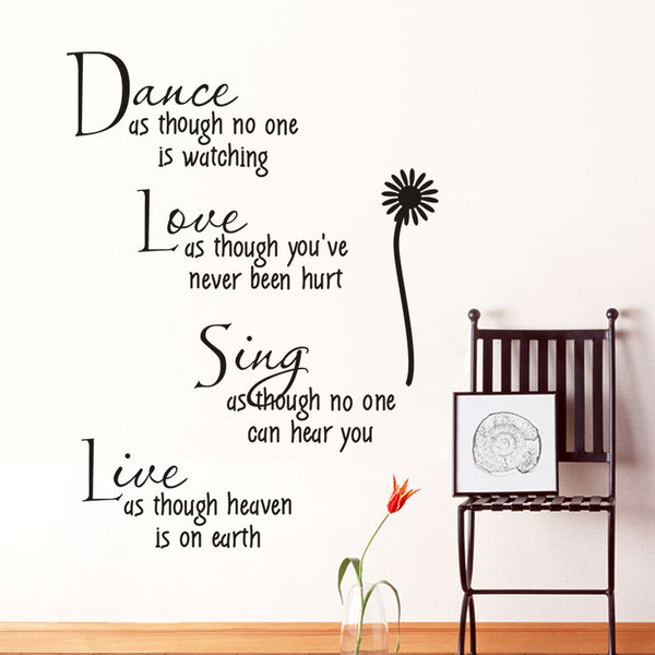 "Wall Art Inspirational quotes ""DANCE LOVE SING LIVE"" Home Decor Accessories Wall Sticker Flower Decal Art"