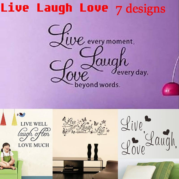 "Wall Art ""Live Laugh Love"" Inspirational Quotes Wall Stickers Living Room Decoration Diy Vinyl Adhesive Home Decals Mural Art"