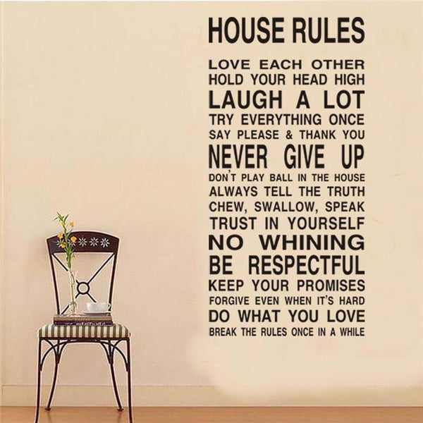 "Wall Art ""House rules"" inspirational quote wall stickers home decoration living room DIY decals. vinyl adhesive mural art"