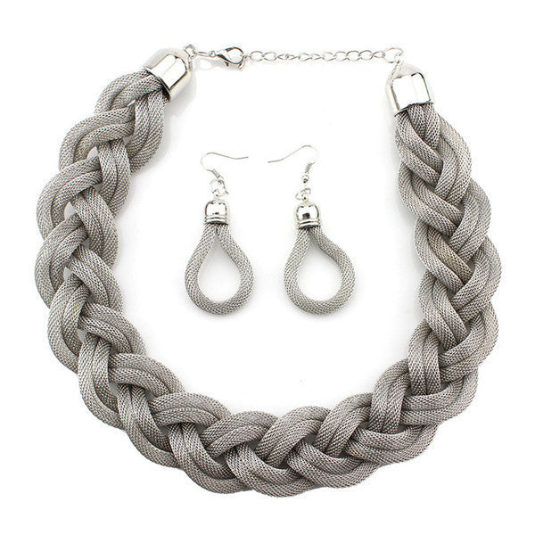 Vintage Twist Chain Necklaces & Earrings Set  Silver color