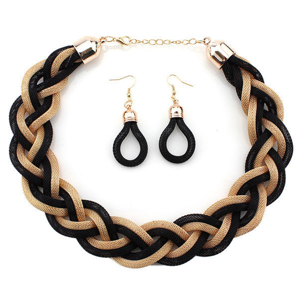 Vintage Twist Chain Necklaces & Earrings Set  Gold black