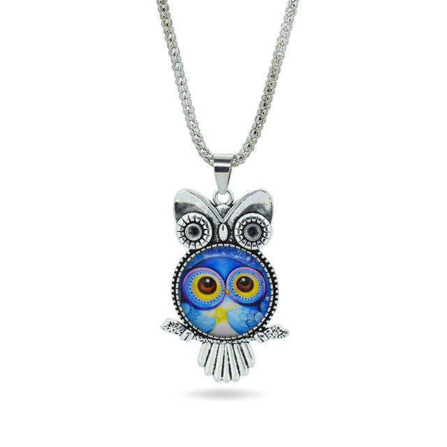 Vintage Owl glass pendant necklace