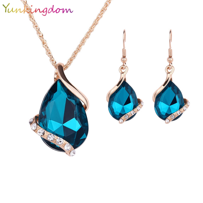Blue Teardrop and Crystal Pendant/Earring Set