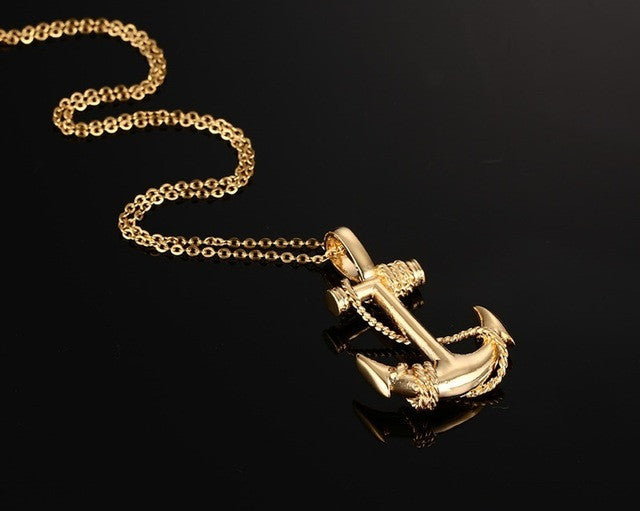 Titanium Anchor Pendant Necklace  Gold-color