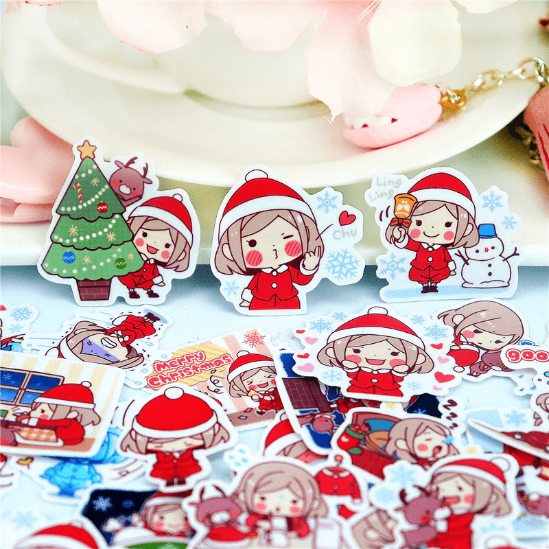 Cute Christmas Girl Stickers