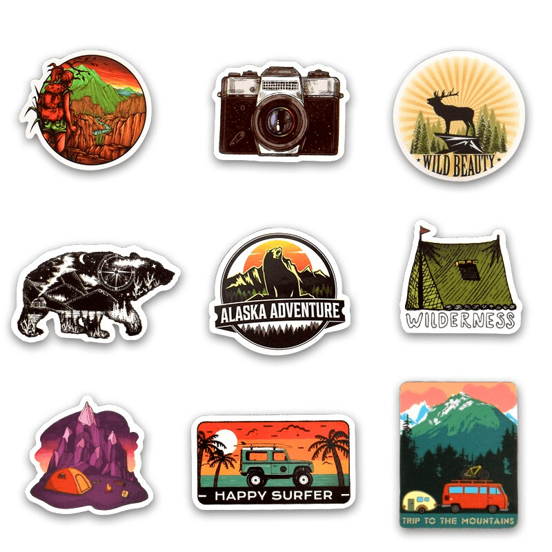Adventure Climbing Camping Stickers