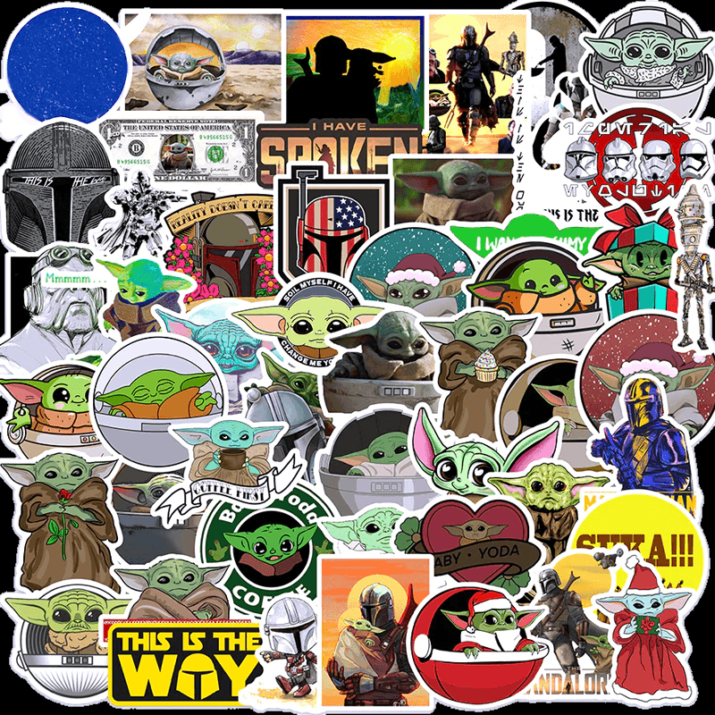Baby Yoda and Mandalorian Stickers