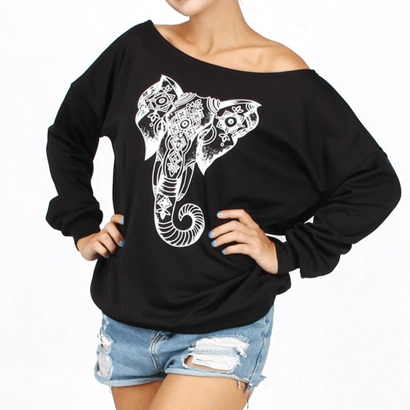 Elephant Slash Neck Sweatshirt