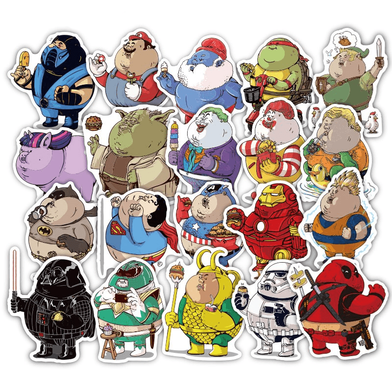 Fat Superhero Cartoon Stickers Set 32 Pcs