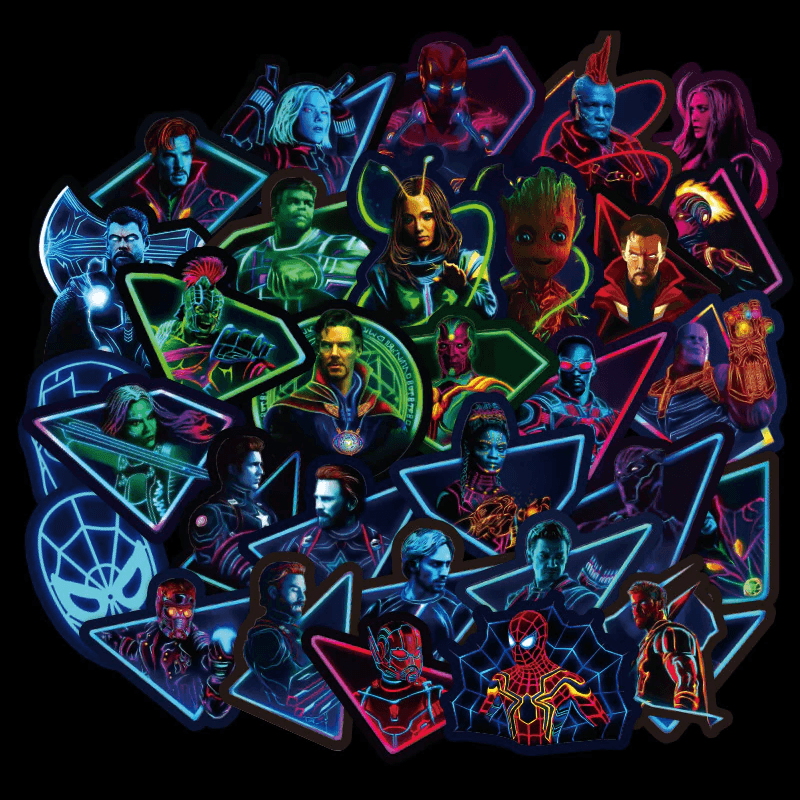 Avengers Endgame Neon Stickers - Thurfy