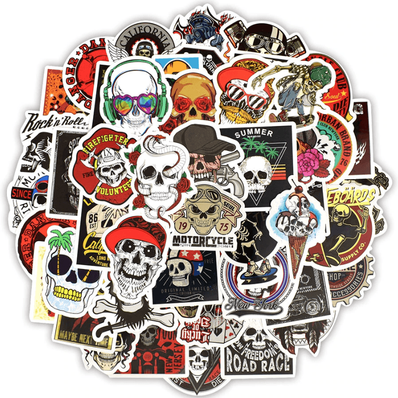 Skull Punk Rock Stickers