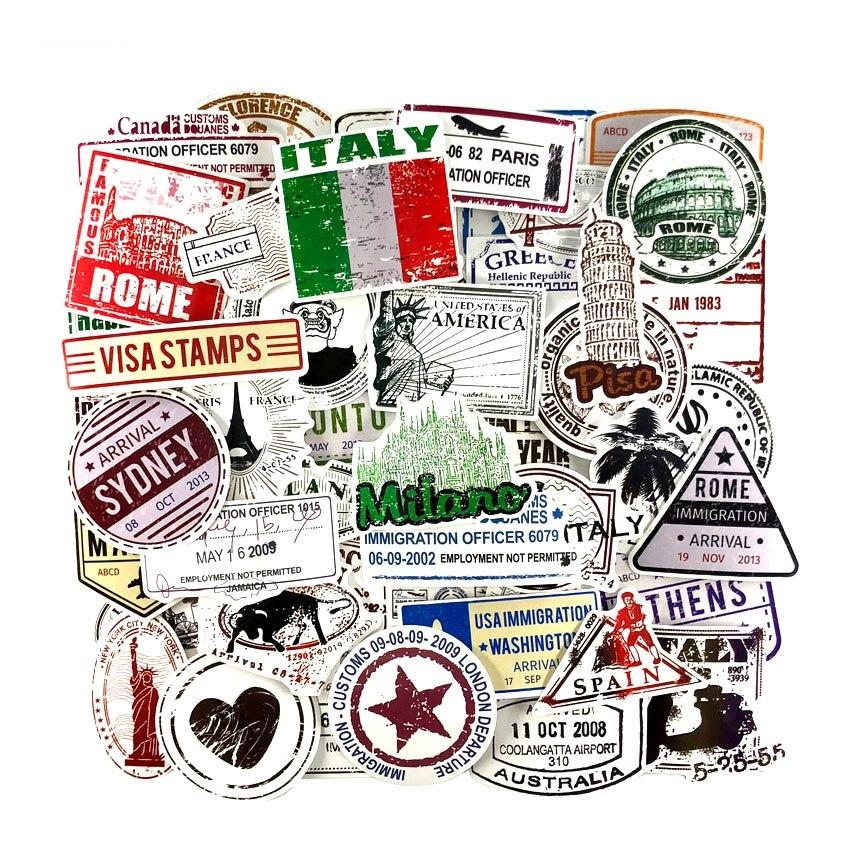 Travel Stamp Retro Stickers