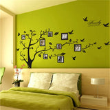 Family Photo Big Tree Flying Birds Wall Sticker