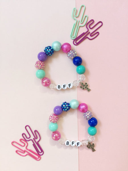 BFF Bracelets with Cactus Charm - Set of 2