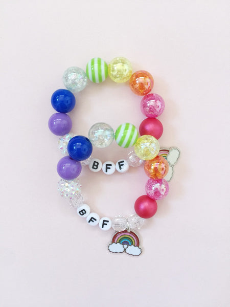 BFF Bracelets with Rainbow Charm - Set of 2