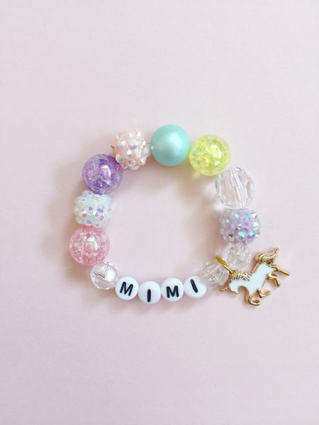 Golden Unicorn Charm Bracelet - Personalized