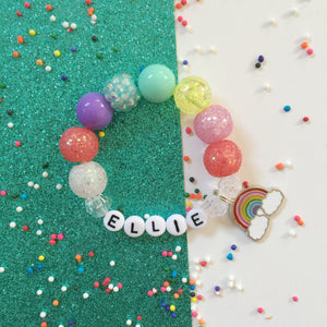 Rainbow Charm Bracelet- Personalized