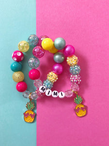 Neon Pineapple Charm Bracelet - Customizable