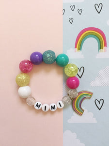 Rainbow Charm Bracelet - Personalized