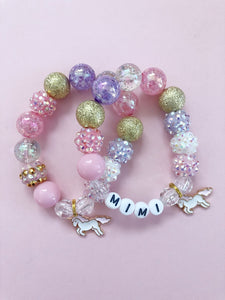 Pink Unicorn, charm bracelet, personalized, custom name, toddler jewelry, kids jewelry, girls jewelry, kids bracelets